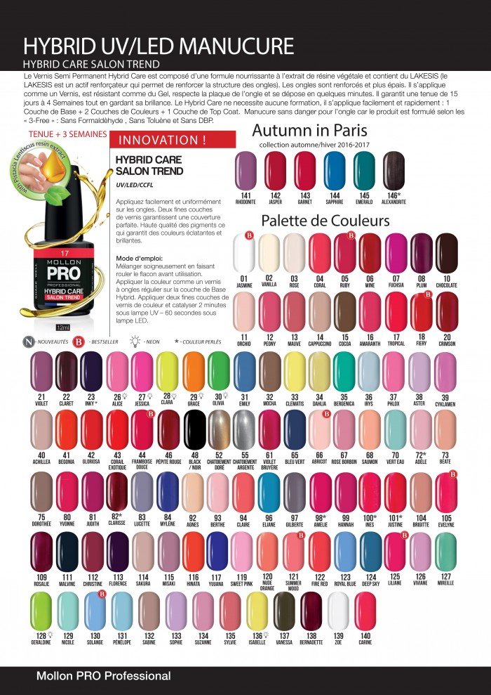 Vernis Semi Permanent hybrid uv led couleurs mollonfrance