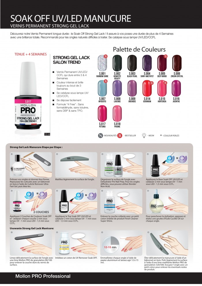 Vernis permanent soak off mollon pro couleurs